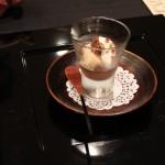 チョコレートとほうじ茶のクレーム   ブランデーのグラニテ